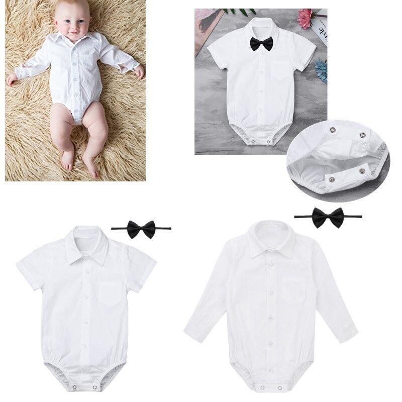 7f3fec476c525 Newborn Baby Boys Formal Gentleman Shirt Romper Bow Tie Jumpsuit ...