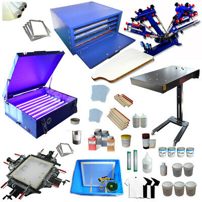 4 Color Screen Printing Press Bundle Equipment Consumable Kit Micro Registration