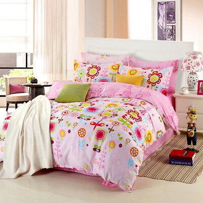 - Children Floral Cotton Duvet Quilt Cover Set + Pillowcase Single Queen King Size