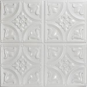 Pvc Faux Tin Ceiling Tiles 24 X 2x2 Glue Up White Pearl D1148
