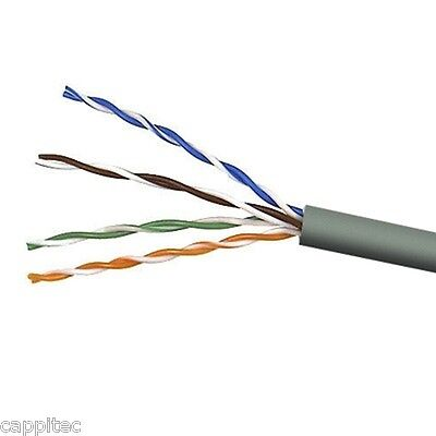 2M OF GREY HIGH QUALITY SOLID COPPER CORE CAT5E UTP PVC 4 PAIR NETWORK CABLE