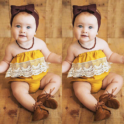 Newborn Baby Girls Lace Romper Bodysuit Jumpsuit Outfits Sunsuit Clothes 0-2T c
