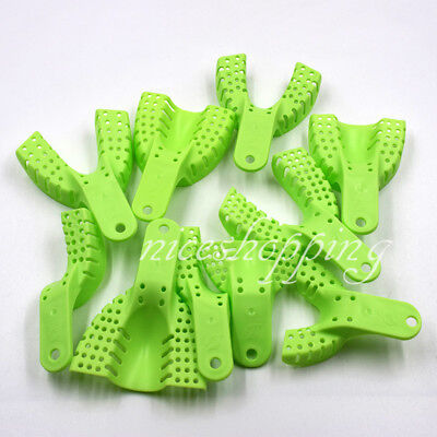 10 Dental Plastic Disposable Impression Trays Set Perforated Autoclavable Holder