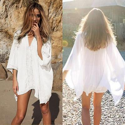 Women Cover Up Summer Lace Crochet Bikini Swimwear Beach Dress Bathing Suit