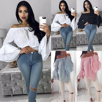 Fashion Womens Off Shoulder Tops Long Sleeve Shirt Casual Blouse Loose T Shirt
