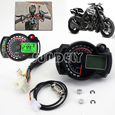 Universal Digital LCD Backlight Motorcycle Speedometer Odometer Tachometer Gauge