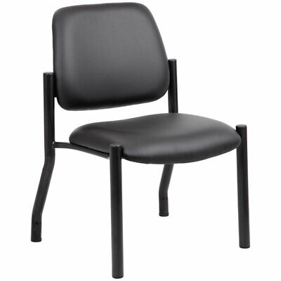 Boss Leather Guest Chair - Boss Office Big and Tall Faux Leather Guest Chair in Black