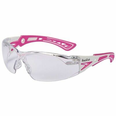 Bolle Rush Small Safety Glasses Whitepink Temples Clear Anti-fog Lens 40254