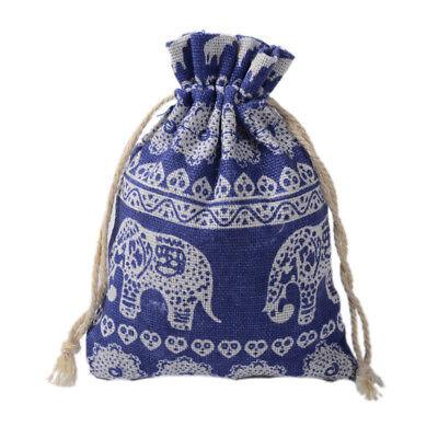 Gift Bag Organizer (Cotton Linen Drawstring Multi-purpose Bag Organizer Party Gift Elephant Blue 8)