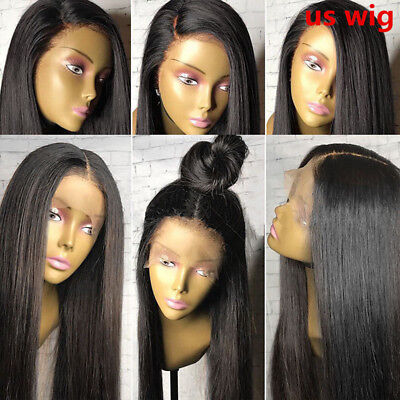 US stock Pre Plucked virgin Human Hair Full  Wig Lace Front Wigs Bleached Knots