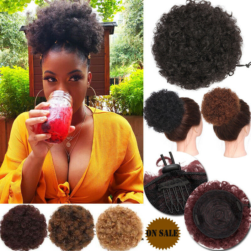 Short Afro Kinky Curly Bun Ponytail Drawstring High Puff Afro Curly Pony Hair L Ebay