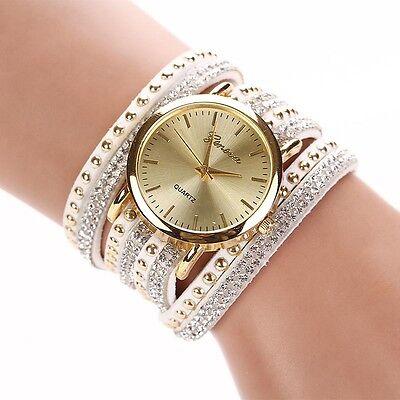 Women's Crystal Rivet Bracelet Watches Quartz Braided Winding Wrap Wrist Watch