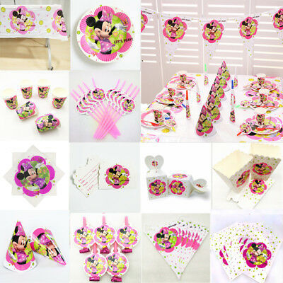 Minnie Mouse Girls Birthday Party Supplies Favor Kids Tableware Decor Plates Cup (Minnie Mouse Birthday Decorations)