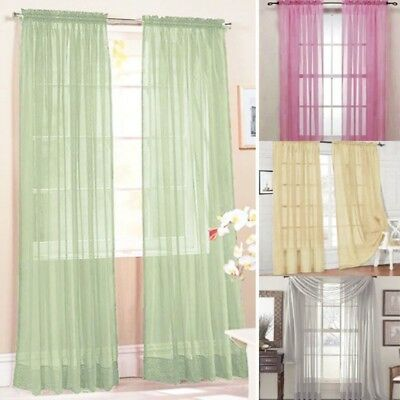 US Sheer Curtain Window Bedroom Voile Drape Panel Sheer Valance Curtains - Curtains Decorations