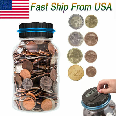 2019 New Digital Lcd Money Box Bank Large Coin Counting Jar Change Counter Usa