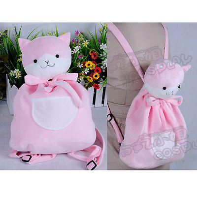 Danganronpa Dangan-Ronpa Nanami Chiaki Cat Bag Cosplay Pink Plush Backpack Purse