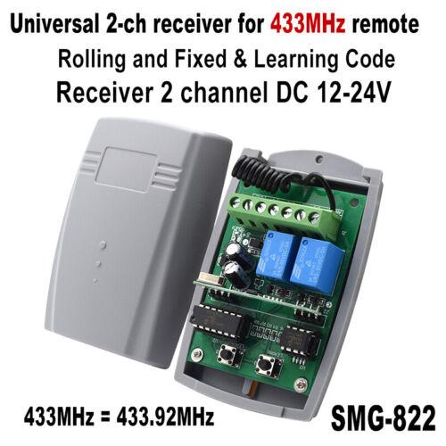 Universal 2-ch receiver 433.92mhz DC 12-24V garage door gate remote 433 receiver