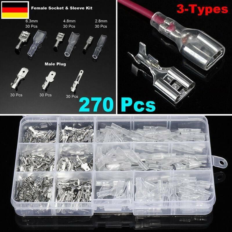 270St Kabelschuhe Sortiment KFZ Steckverbinder Flachstecker Flachsteckhülsen Set