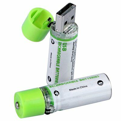 2pcs/lot 1.2V 1450MAH USB AA Battery Rechargeable NiMH LED Indicator Long Life