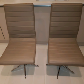 2 x dwell faux leather 360 swivel dining office chairs.