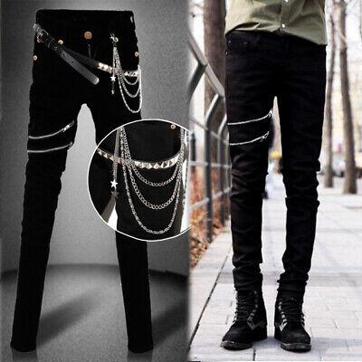 Men Chic Punk Rock Casual Trousers Slim Fit Zip Decor Skinny Stretch Jeans Rivet](Punk Rock Decor)