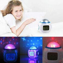 Children Baby Room Sky Star Night Light Projector Lamp Bedroom Music Alarm Clock