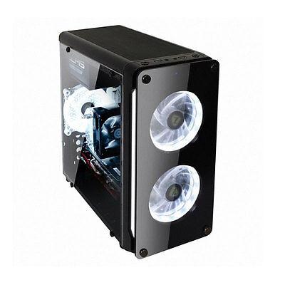 iGUJU M1 Typhoon Ring LED Tempered Glass Black Mini Tower Computer Case