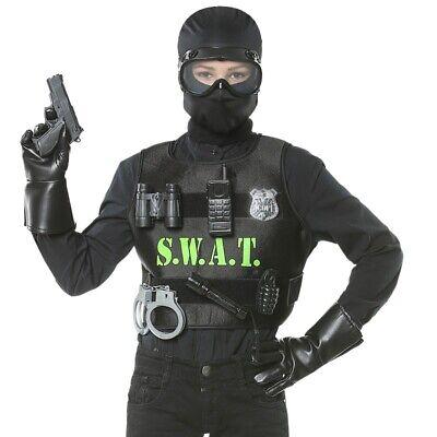 9 tlg. Set KUGELSICHERE POLIZEI WESTE S.W.A.T Kinder - Kind Swat Polizei Kostüme