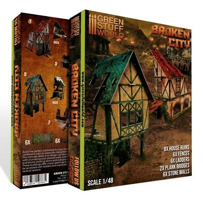 Ciudad en Ruinas - Set de Escenografia - Terreno Batalla Warhammer 9th...