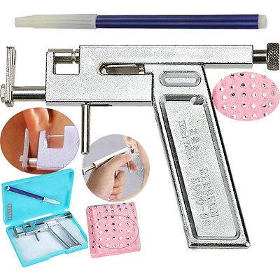 Steel Ear Nose Navel Body Piercing Gun With 98x Studs Tool Kit Set Professional
