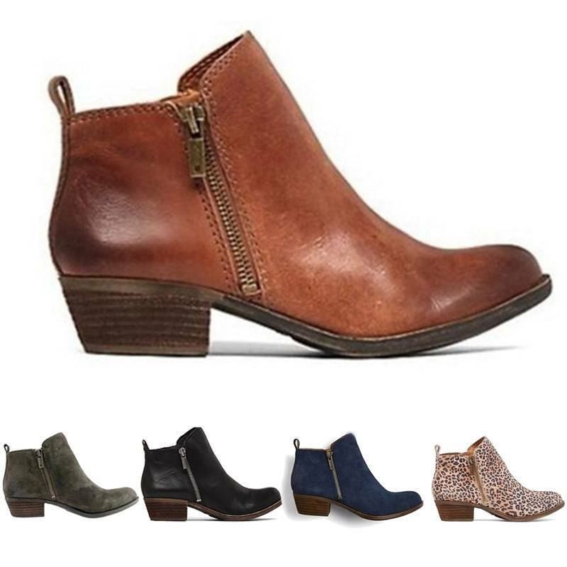 Damen Stiefeletten Stiefel Klobig Blockabsatz Boots Winter Zipper Booties Schuhe