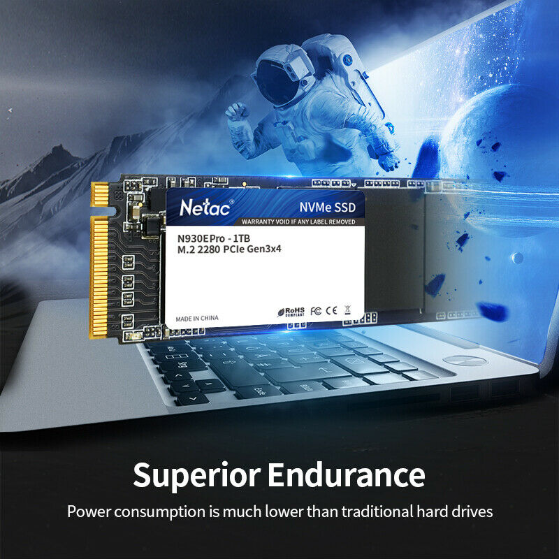 Netac SSD 250GB/500GB/1TB PCIe NVMe Gen3x4 M.2 Solid State Drive for PC/Laptop