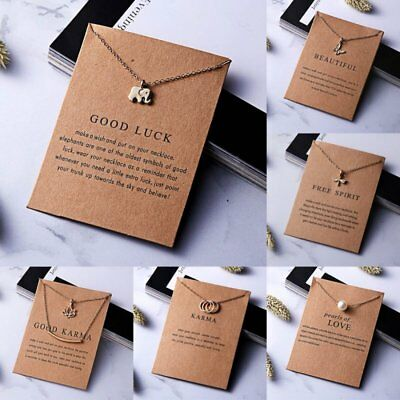 Women Necklace Elephant Pendant Gold Clavicle Chains Choker Card Jewelry Gifts ()