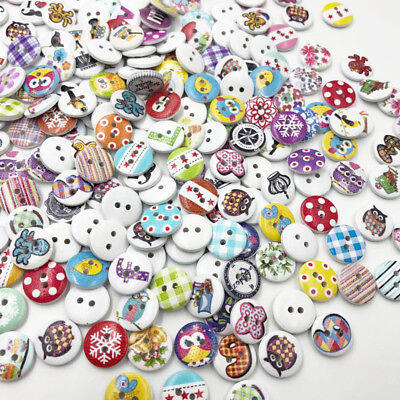 Buttons In Bulk (100pcs 15mm Mixed Wooden Buttons in Bulk Crafts Button Painting Buttons)