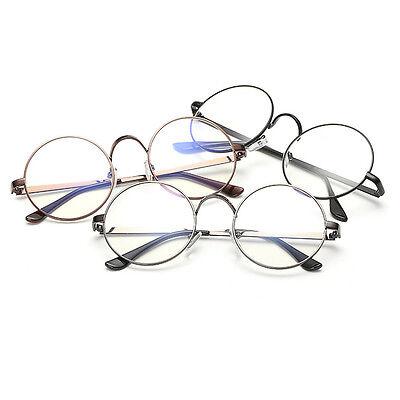 Vintage Nerd Brille Metall Nickelbrille Rund Klare Gläser-Klarglas-Damen He J9V4