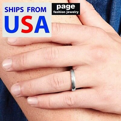Stainless Steel 4mm-Women/Men-Traditional Silver Wedding Band Ring Size 5 - 12.5 4mm Traditional Wedding Band Ring
