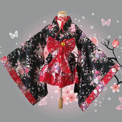 6PC Adult Womens Anime Cherry Blossom Kimino Dress Halloween Costume Cosplay ZG9