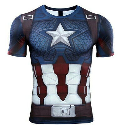 Avengers: Endgame Captain America Cosplay T-shirts Short Long Sleeve Tee Tops (Captain America Long Sleeve)