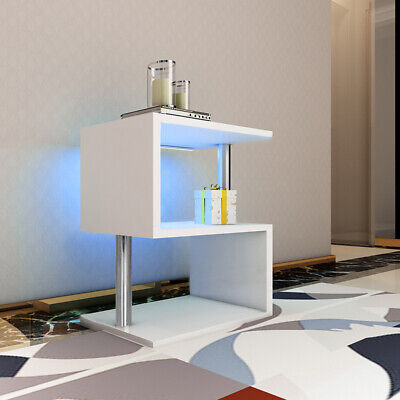 High Gloss Coffee/Side End Table Shelf Living Room Furniture Blue LED Light UK