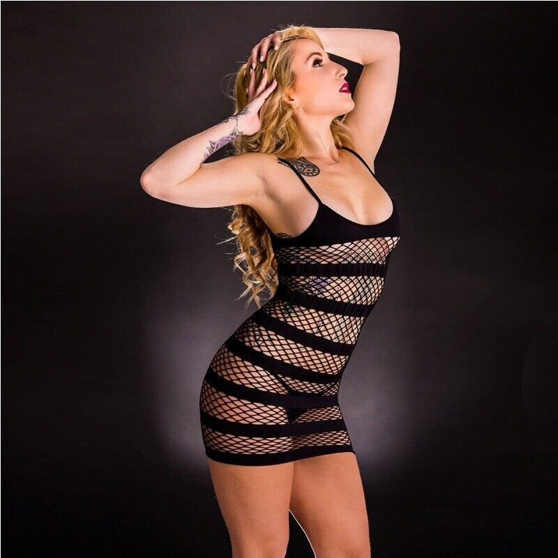 Camisole Dress with Horizontal Stripe Holes Black Beverly Hills Naughty Girl