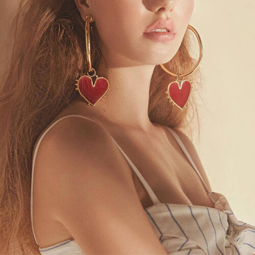 Fashion Big Heart Hoop Earrings Gold Women Lady Large Hoops