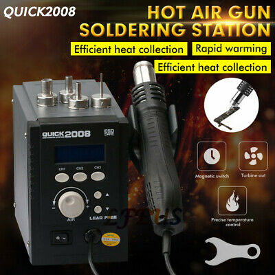 110v Quick 2008 Portable Hot Air Gun Smd Bga Rework Station Soldering Us Stock