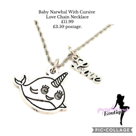 Baby Narwhal With Cursive Love Chain Necklace🐳📿