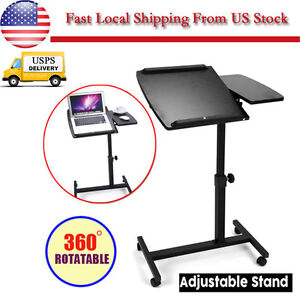 Mobile Laptop Desk Rolling Cart Pad Table Stand Computer Workstation Portable US