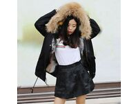 DAYMISFURRY-- Fox Fur Lined Parka with Raccoon Fur Hood