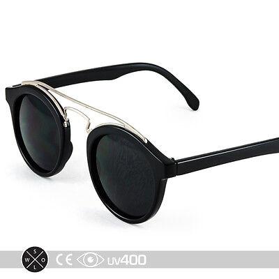 - Black Silver Tortoise Metal Bridge Bar Round Circle Sunglasses Classic S086