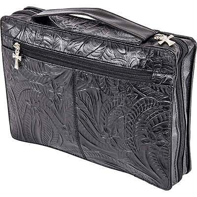 BIBLE COVER Black Tooled Solid Genuine LEATHER Pocket Book Case Cross Zipper NEW