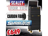 Sealey Tools AP26CFSTACK Topchest & Rollcab Combination 10 Drawer - Carbon Fibre Effect Limited