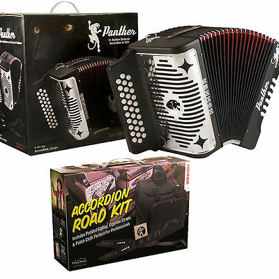 Hohner Panther GCF Button SOL Acordeon +Accordion Road Kit_Bag_Straps_DVD_TShirt