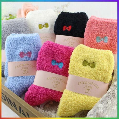 6x Damen weiche flauschige Bett Socken Winter warme Lounge Slipper Fleece Socke